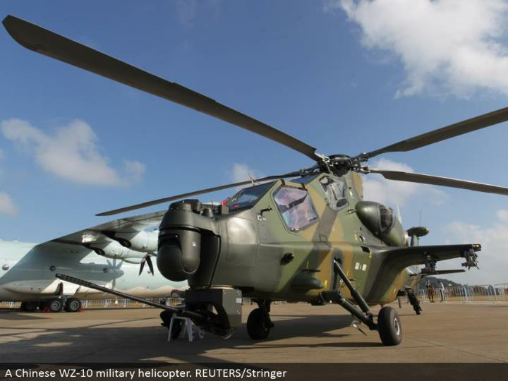 A Chinese WZ-10 military helicopter. REUTERS/Stringer