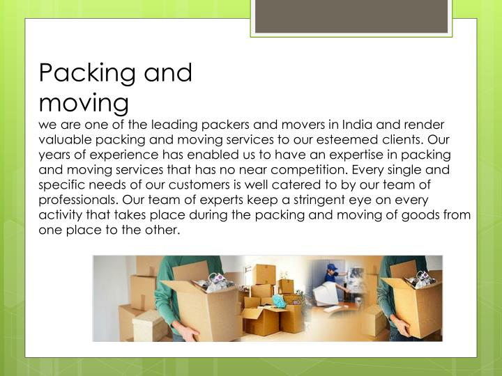Packing and moving