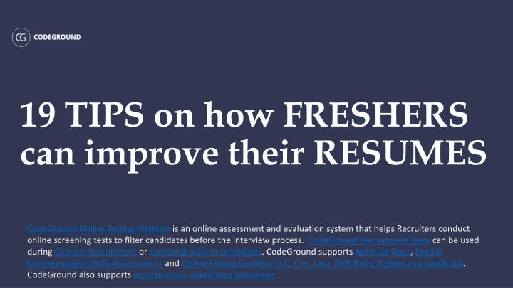 19 tips on how freshers can improve their resumes n.
