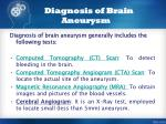 diagnosis of brain aneurysm
