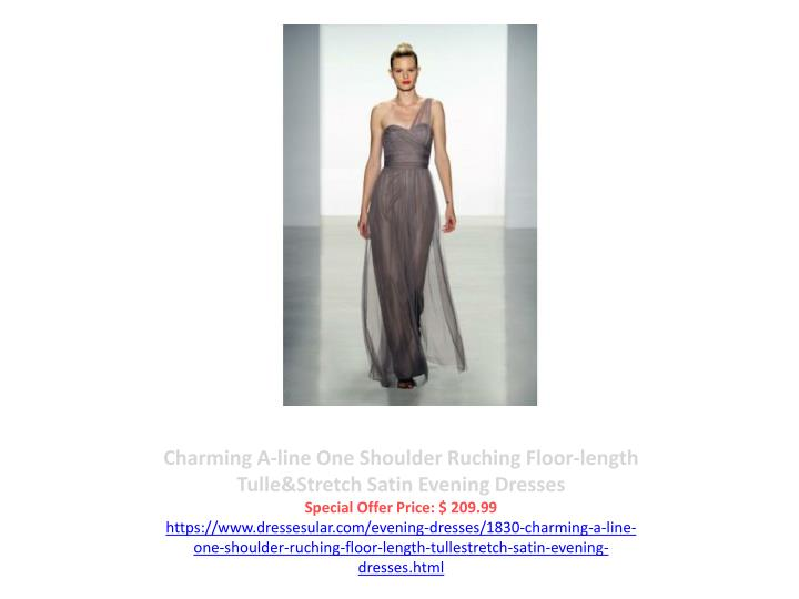 Charming A-line One Shoulder Ruching Floor-length Tulle&Stretch Satin Evening Dresses