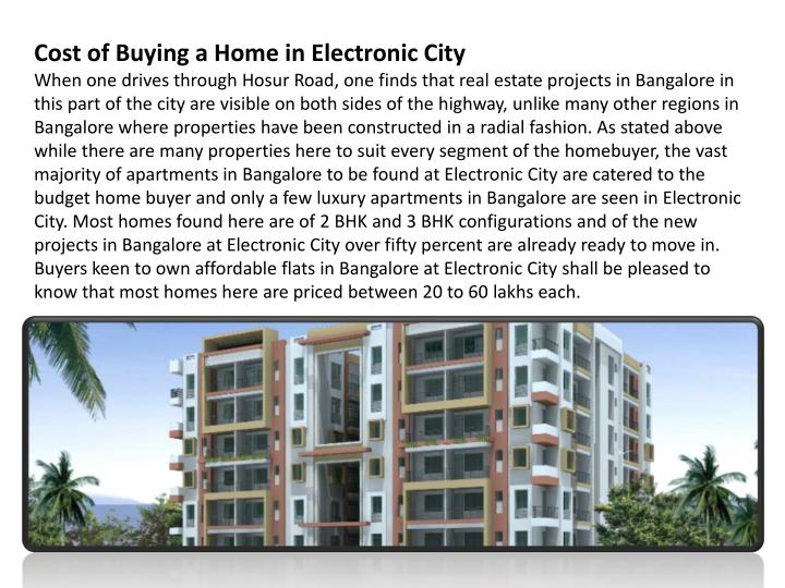 Cost of Buying a Home in Electronic City