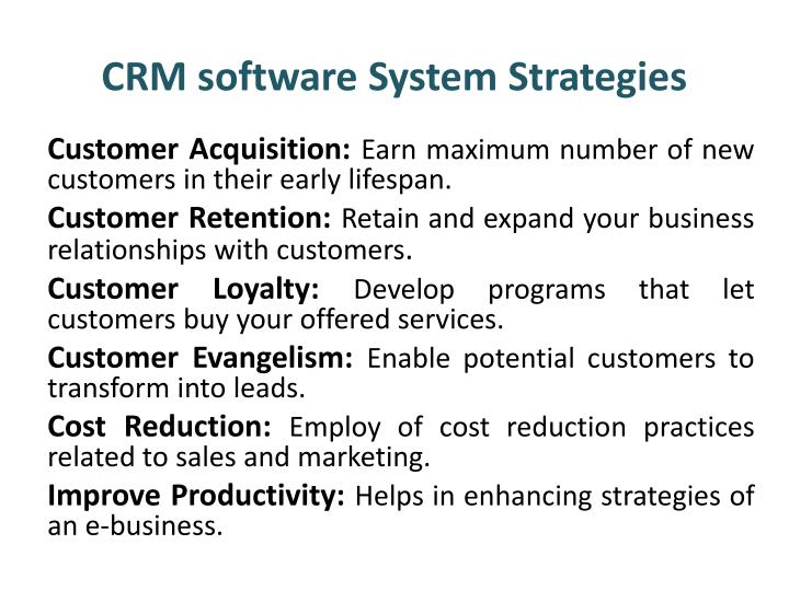 Crm software system strategies