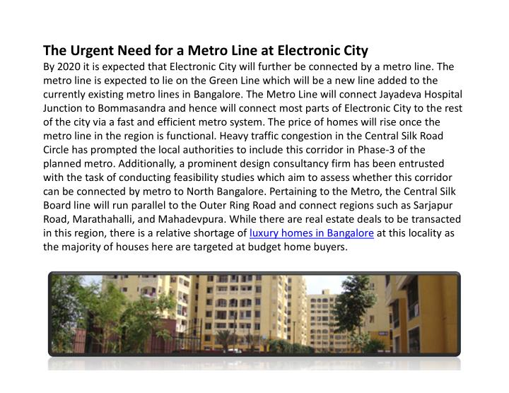 The Urgent Need for a Metro Line at Electronic City