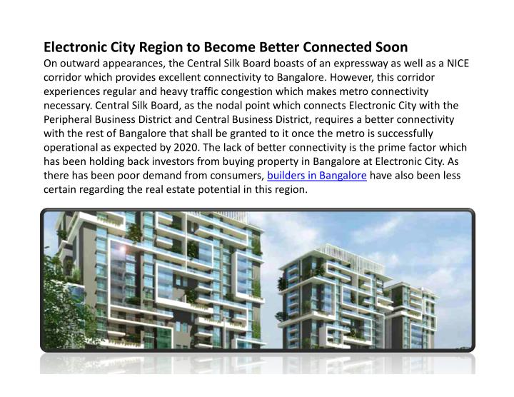 Electronic City Region to Become Better Connected Soon