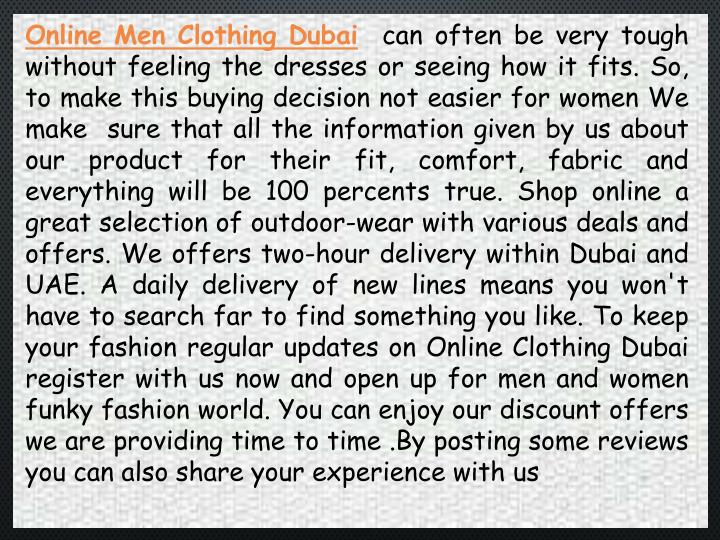Online Men Clothing Dubai