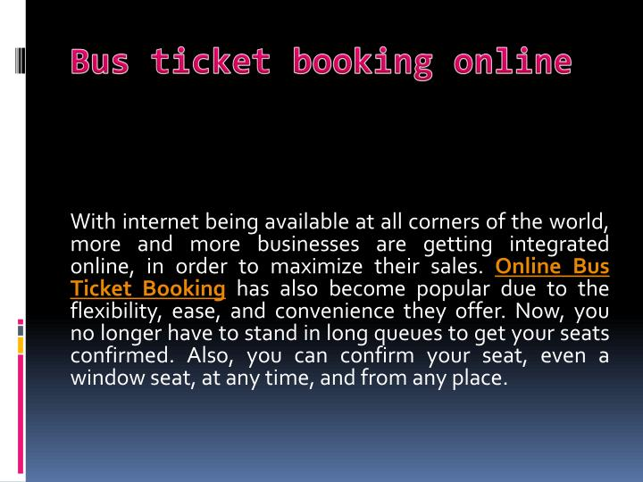 Bus ticket booking online