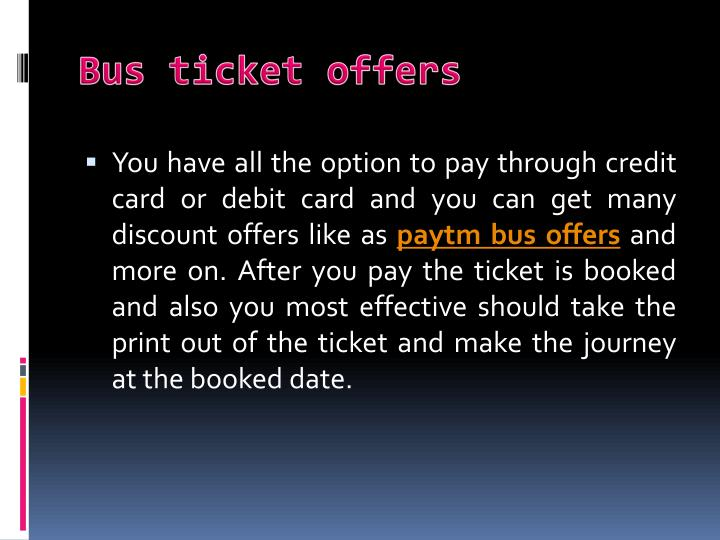Bus ticket offers