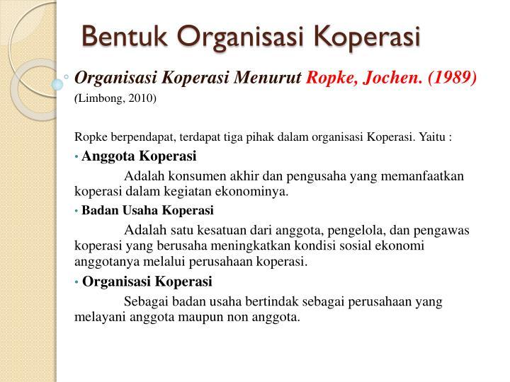 Bentuk Organisasi Koperasi