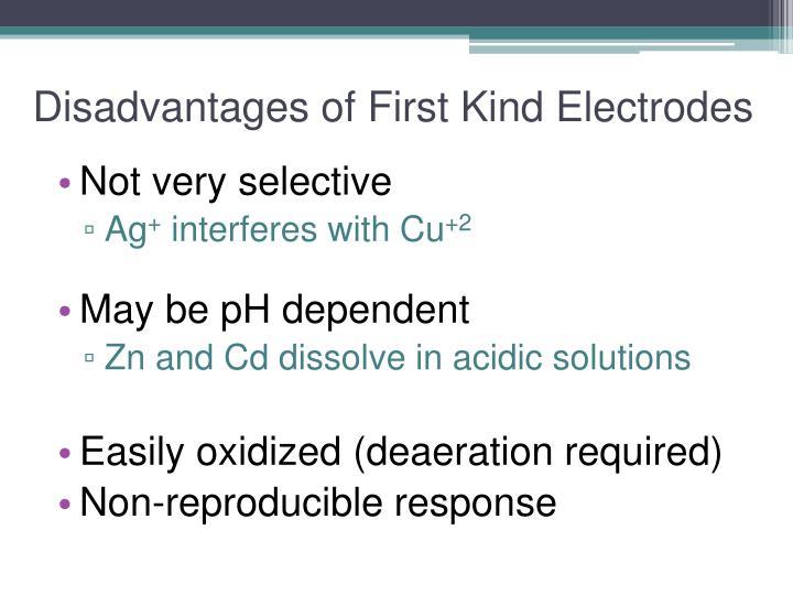 Disadvantages of First Kind Electrodes