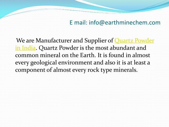 E mail info@earthminechem com