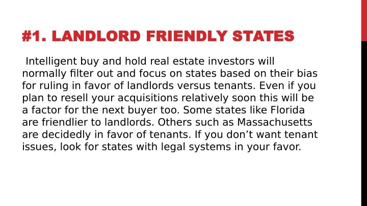 #1. LANDLORD FRIENDLY STATES