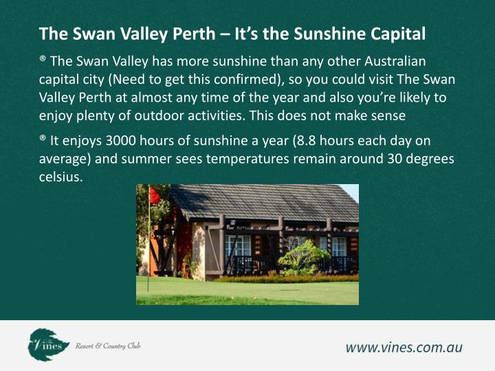 The Swan Valley Perth – It's the Sunshine Capital