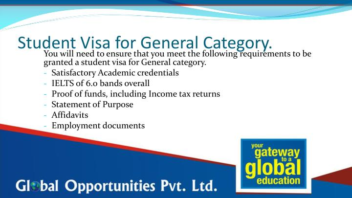 Student Visa for General Category.