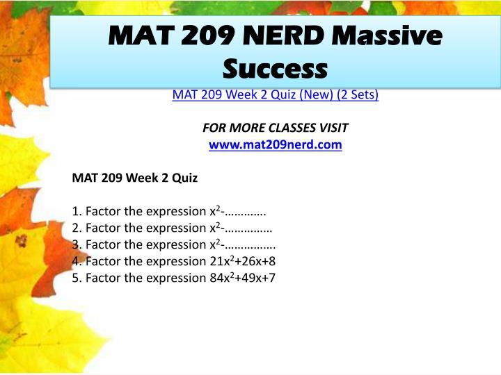 MAT 209 NERD Massive Success