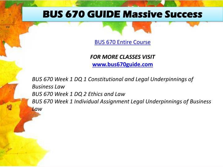 BUS 670 GUIDE Massive Success