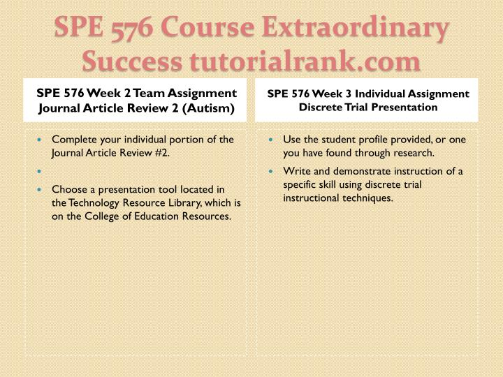 SPE 576 Week 2 Team Assignment Journal Article Review 2 (Autism)
