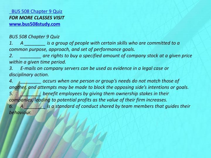 BUS 508 Chapter 9 Quiz