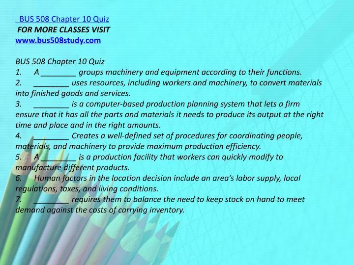 BUS 508 Chapter 10 Quiz