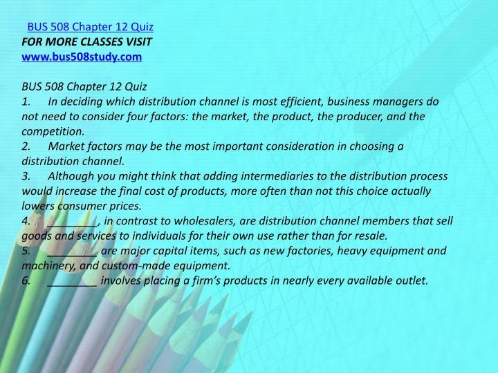 BUS 508 Chapter 12 Quiz