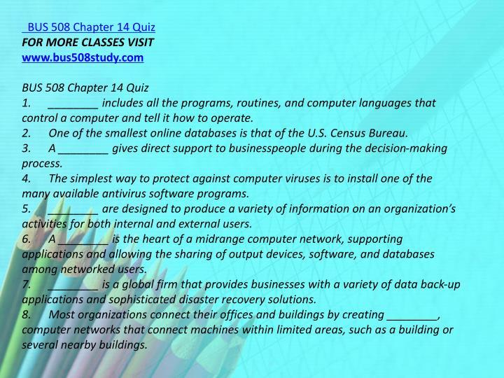 BUS 508 Chapter 14 Quiz