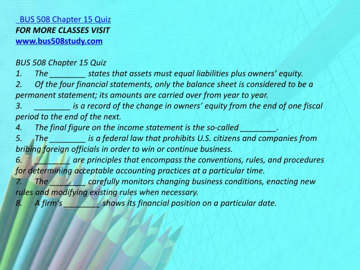 BUS 508 Chapter 15 Quiz