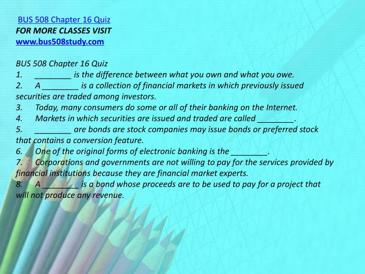 BUS 508 Chapter 16 Quiz