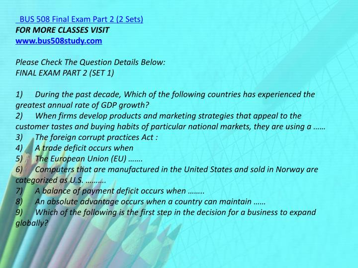 BUS 508 Final Exam Part 2 (2 Sets)
