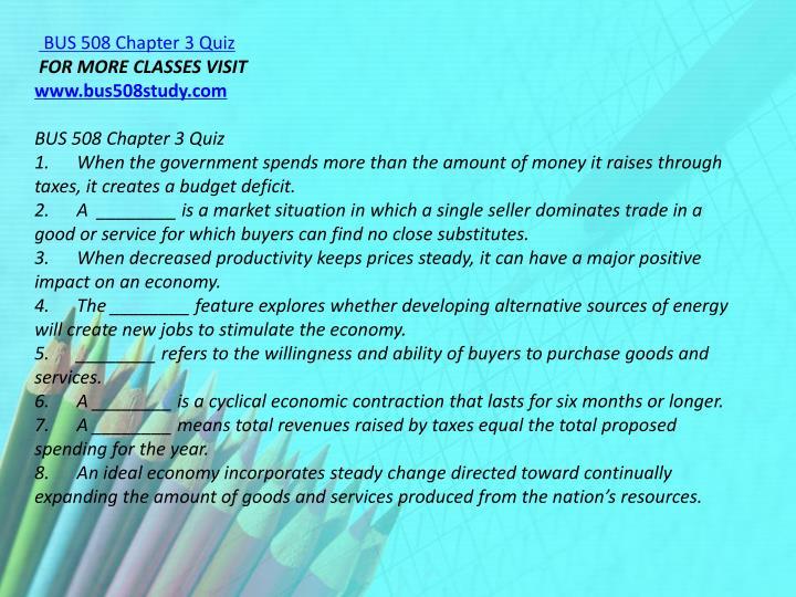 BUS 508 Chapter 3 Quiz