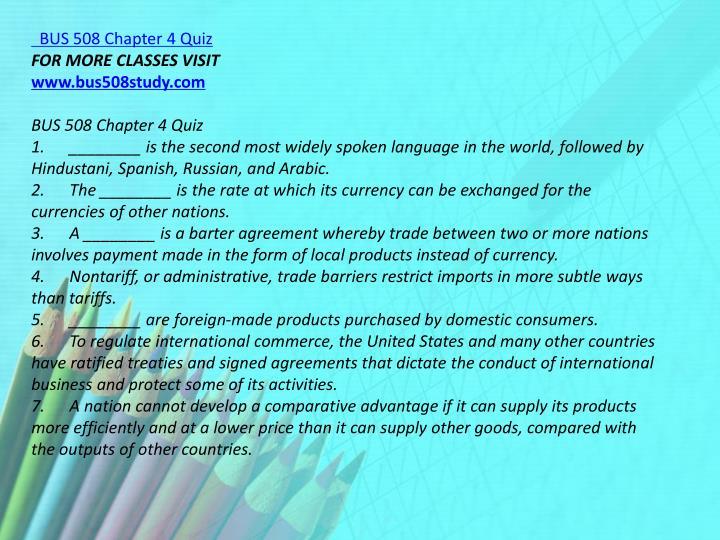 BUS 508 Chapter 4 Quiz
