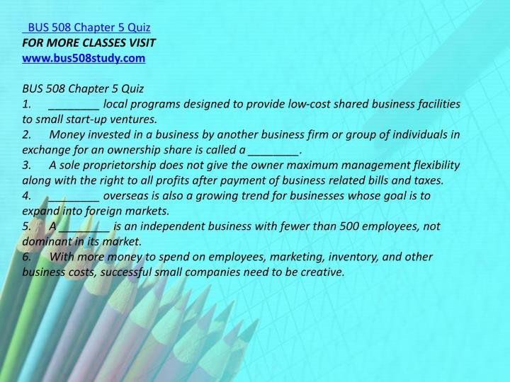 BUS 508 Chapter 5 Quiz