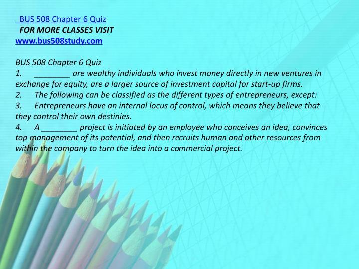 BUS 508 Chapter 6 Quiz