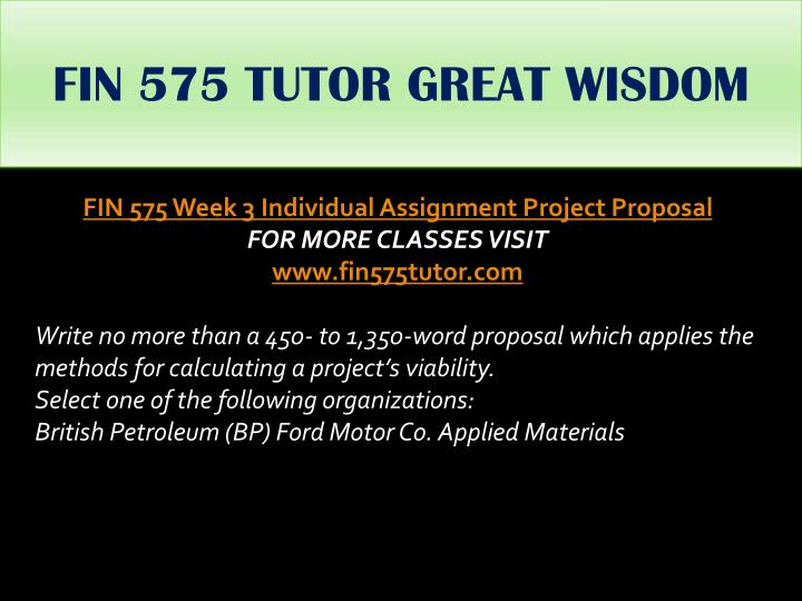 FIN 575 TUTOR GREAT WISDOM