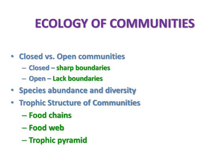 ECOLOGY OF COMMUNITIES