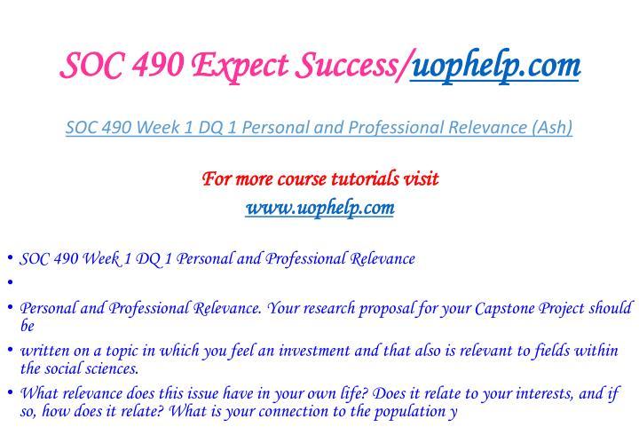SOC 490 Expect Success/