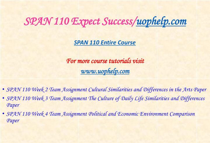 Span 110 expect success uophelp com1