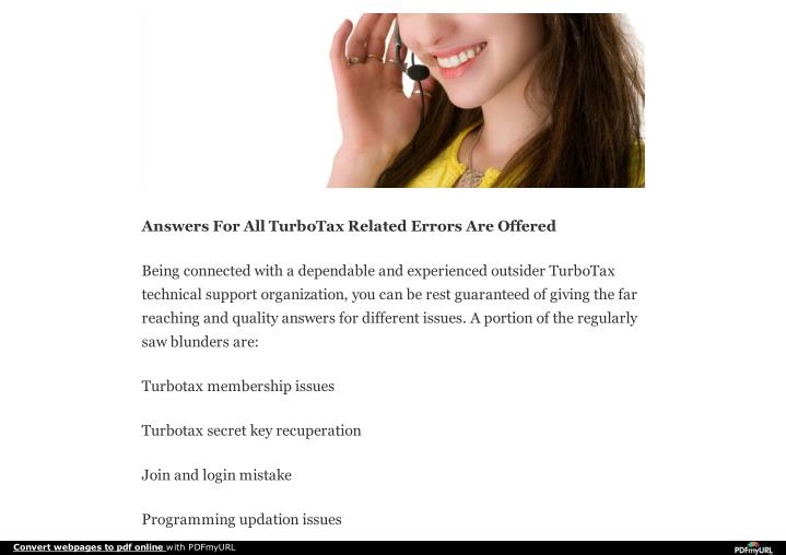 Answers For All TurboTax Related Errors Are Offered