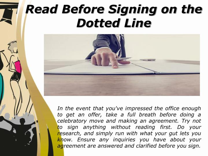Read Before Signing on the Dotted Line