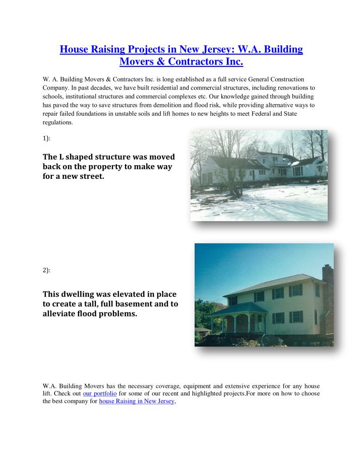 House Raising Projects in New Jersey: W.A. Building