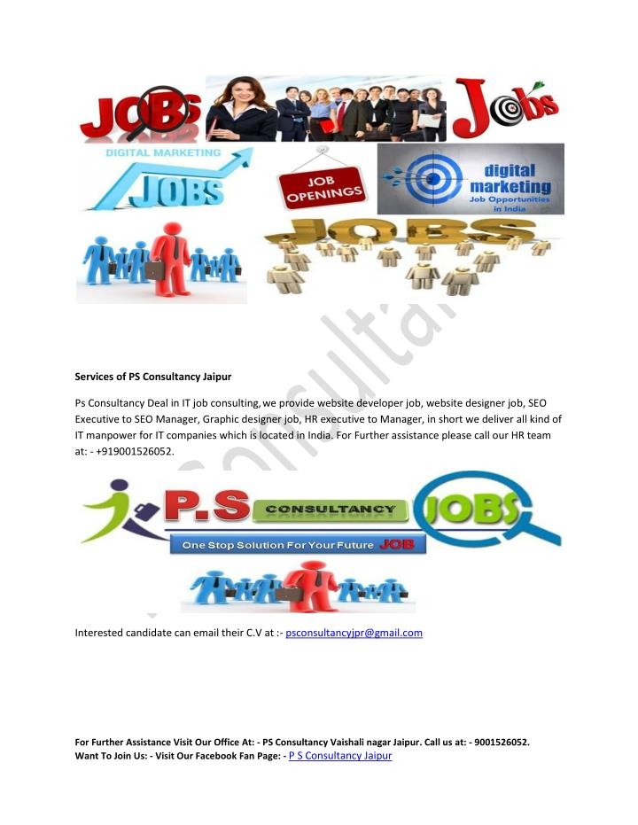 Services of PS Consultancy Jaipur