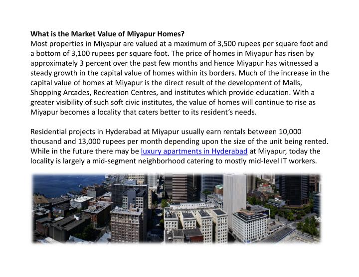 What is the Market Value of Miyapur Homes?