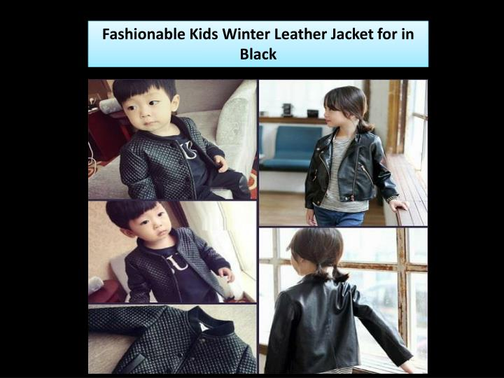 Fashionable Kids Winter Leather Jacket for in Black