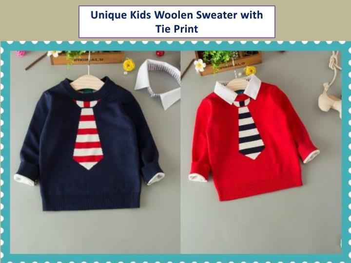 Unique Kids Woolen Sweater with Tie Print