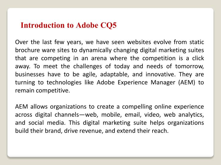 Introduction to Adobe CQ5