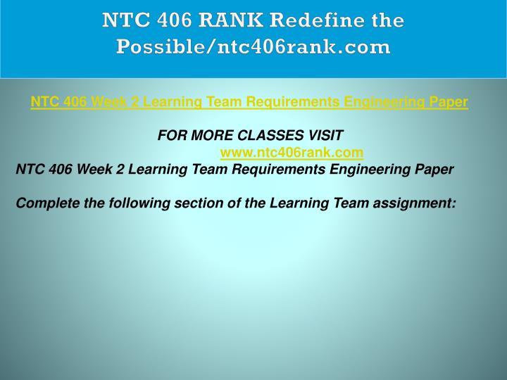 NTC 406 RANK Redefine the Possible/ntc406rank.com