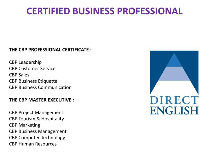 CERTIFIED BUSINESS PROFESSIONAL