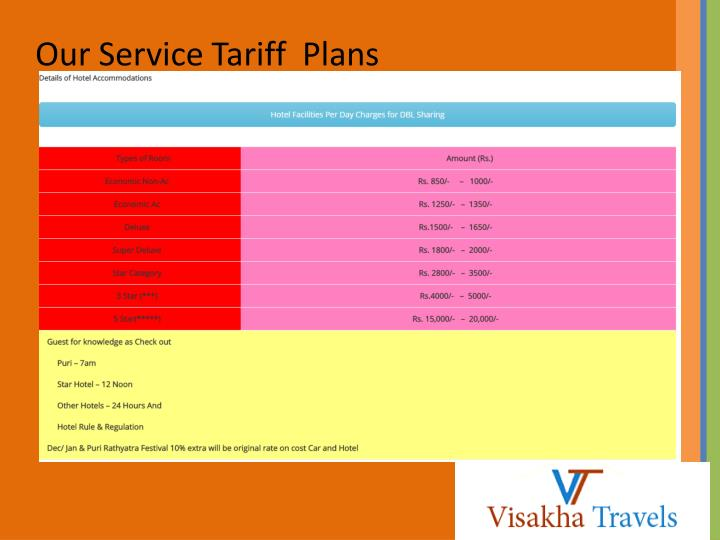 Our Service Tariff  Plans