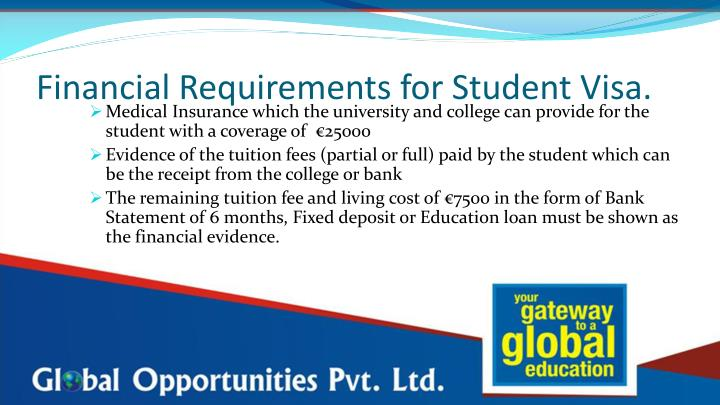 Financial requirements for student visa