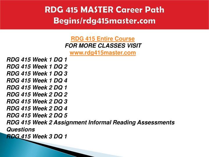 Rdg 415 master career path begins rdg415master com1