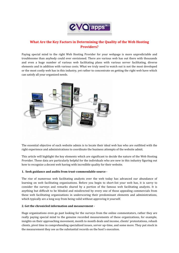 What Are the Key Factors in Determining the Quality of the Web Hosting